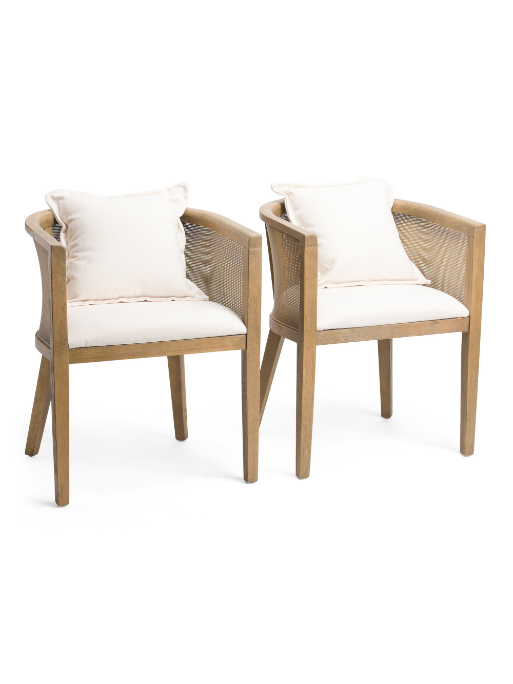 Set Of 2 Cane Round Back Chairs Accent Furniture T.J