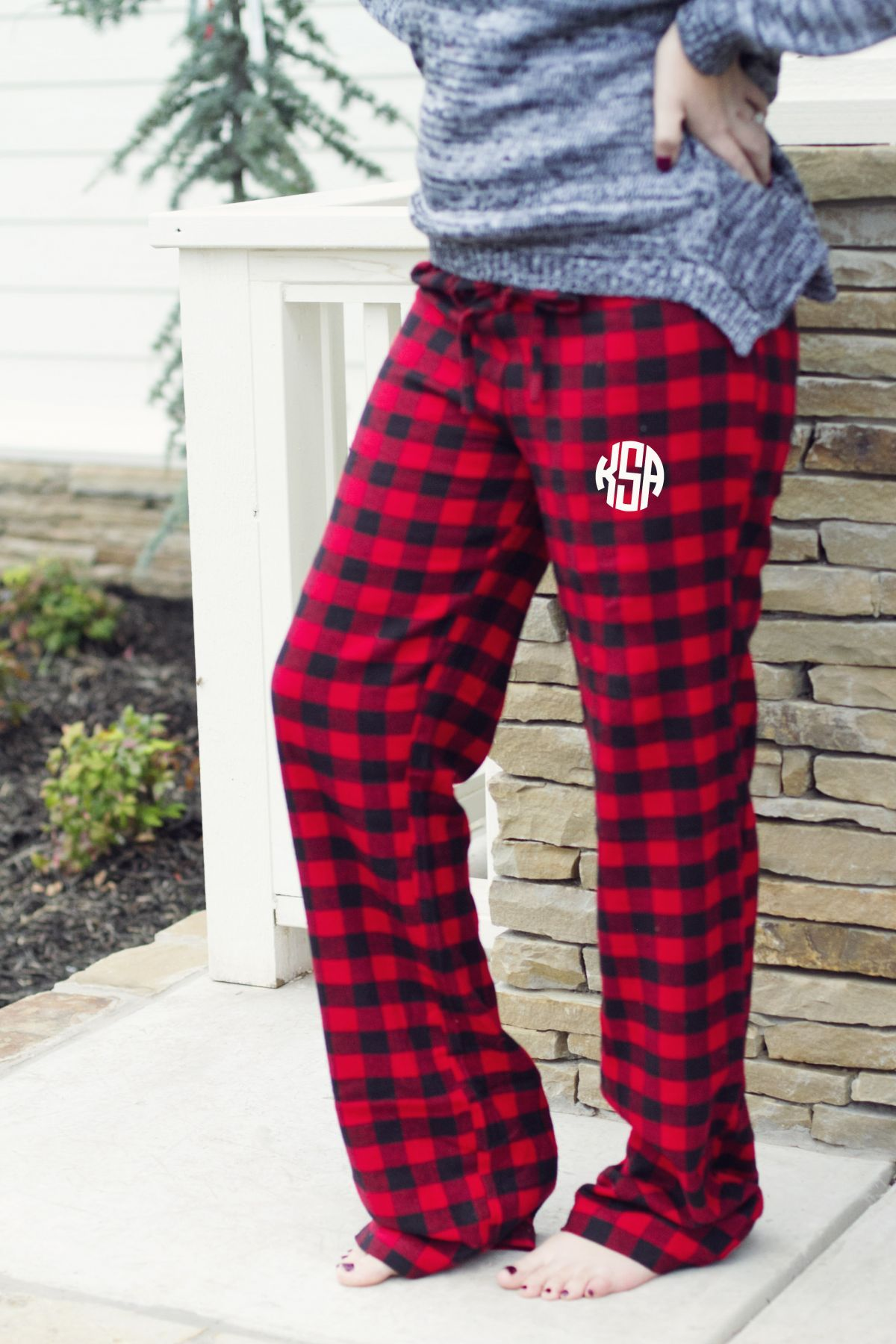 Red flannel pajamas  You will love these monogrammed Christmas Pajama Pants Made from