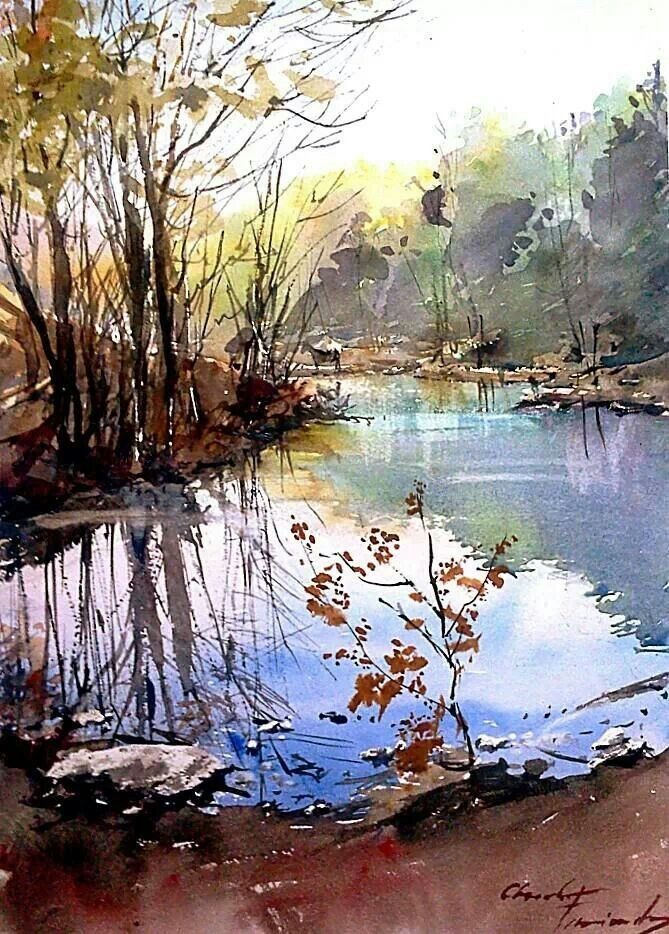 Laguna Barrio Ecologico Watercolor Landscape Paintings Art Painting Landscape Paintings