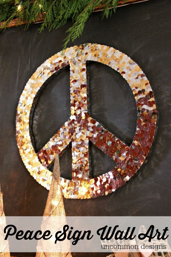 Make a Peace Sign Wall Art Piece for the Holidays by Uncommon Designs & Peace Sign Wall Art for Christmas | Pinterest | Art pieces Peace ...