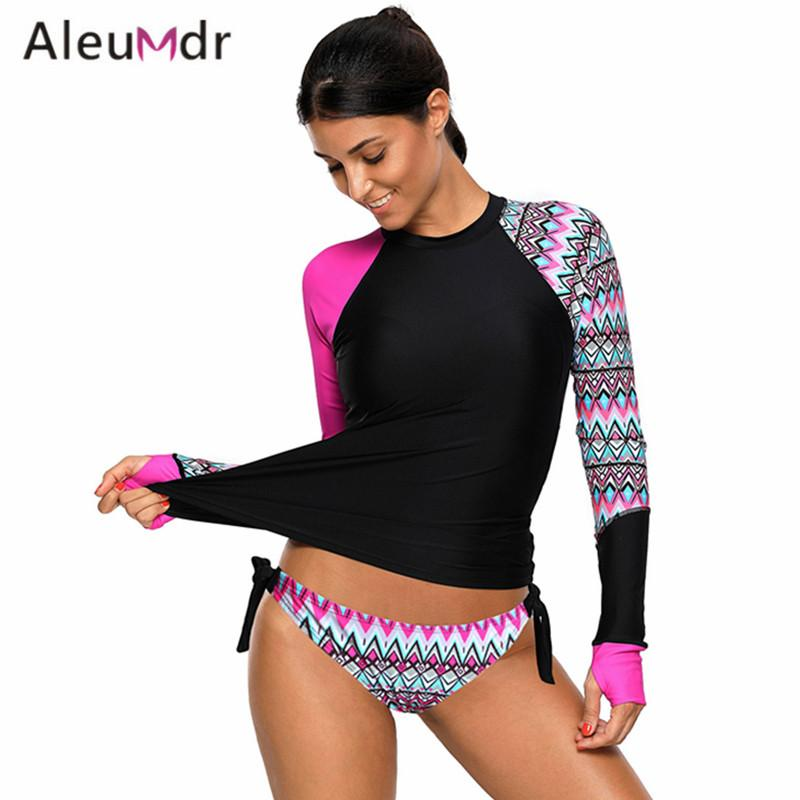 b60e570de3 Aleumdr Swimming Suit For Women Retro Detail Print Long Sleeve Tankini  Swimsuit Two Pieces LC410485 Maillot