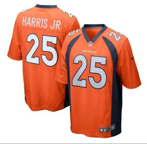mens denver broncos 25 chris harris jr orange stitched nike nfl home elite jersey