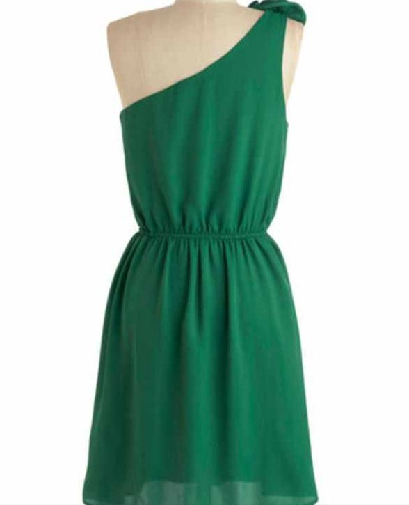 Green cocktail dress.