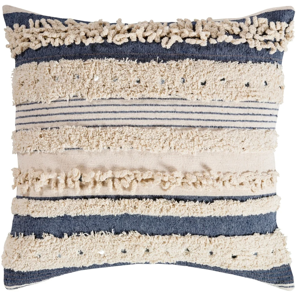 Talco Shaggy Boho Stripe 20-inch Throw Pillow (Peach - Cover Only), Beige(Cotton, Textured)