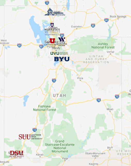 Colleges In Utah Map In 2020 Colleges In Utah Utah Map Utah