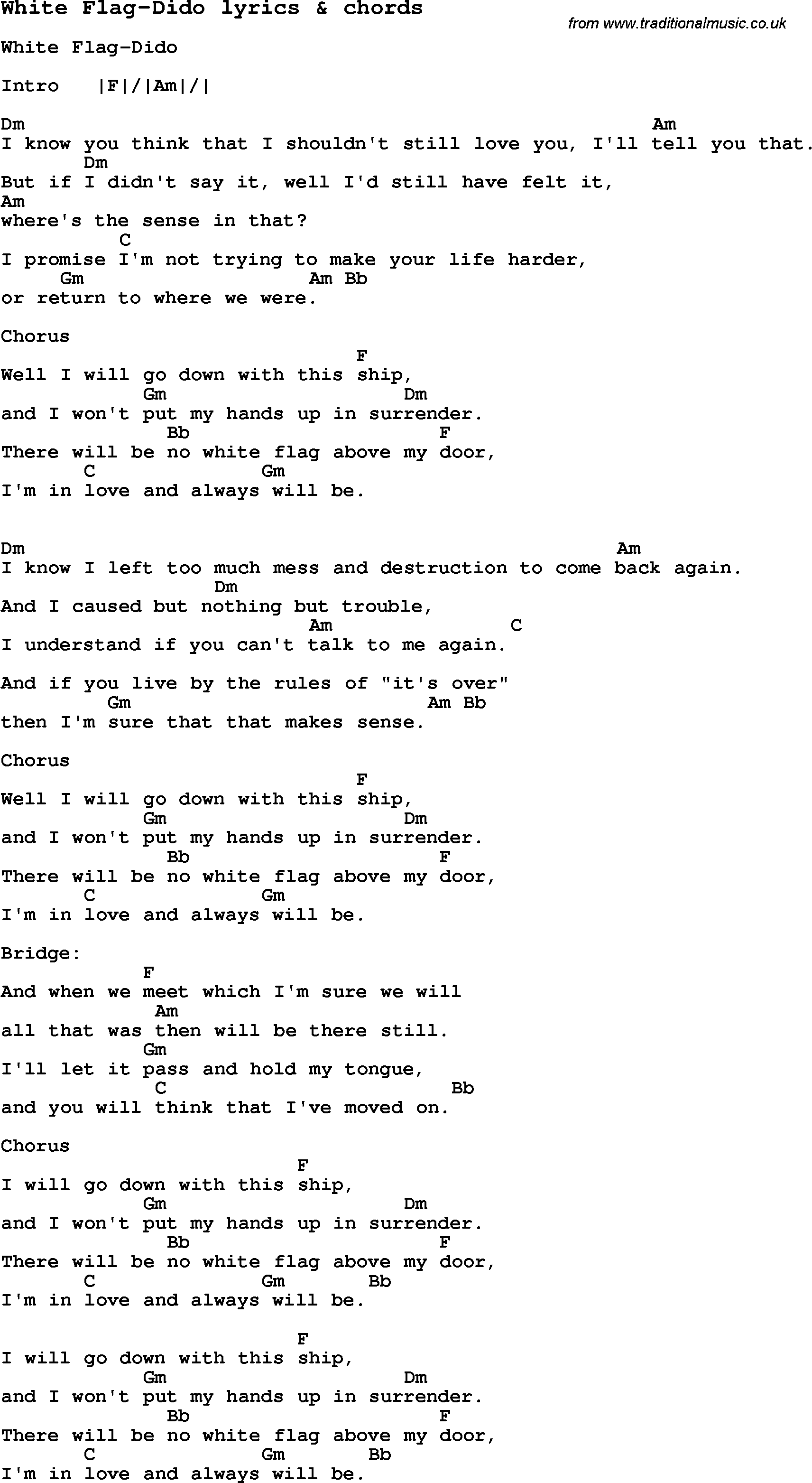 Love Song Lyrics For White Flag Dido With Chords For Ukulele Guitar Banjo Etc Dido Lyrics Dido Lyrics And Chords