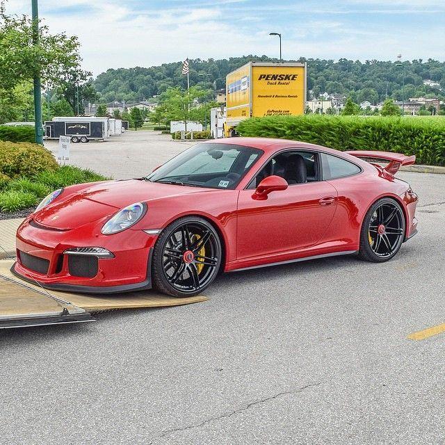 Luxury Cars Porsche Cars Black Porsche: Red On Black GT3 (Wheels: P106 HRE
