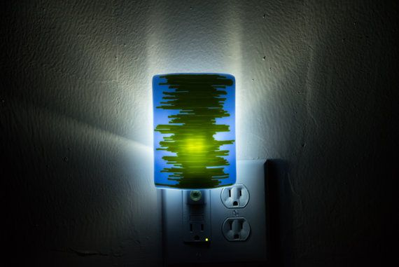 Plugin LED Night Light Perwinkle Blue and Lime Green by EladaGlass