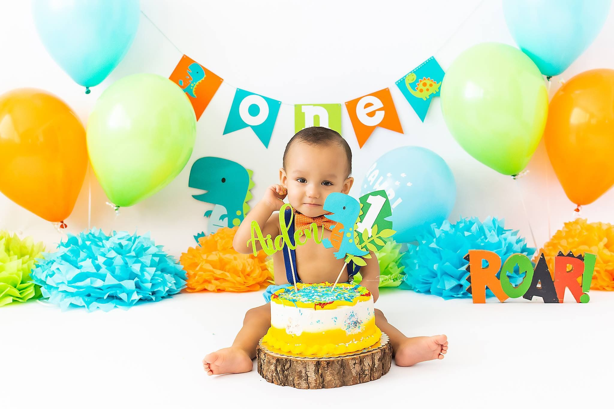 Baby Boy 1st Birthday Cake Smash Prop Outfit Dinosaur Themed Handmade