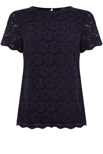6ef2cff3a60f Broderie Front T-Shirt in Navy