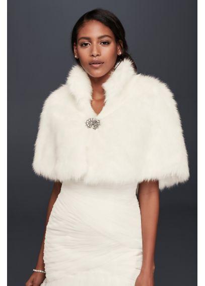 Cheap New Ivory Faux Fur Crystal Brooch Wedding Wrap Bridal Cape Bridal Wrap Shrug Stole Cape Women Wedding Shawl Wedding Accessories
