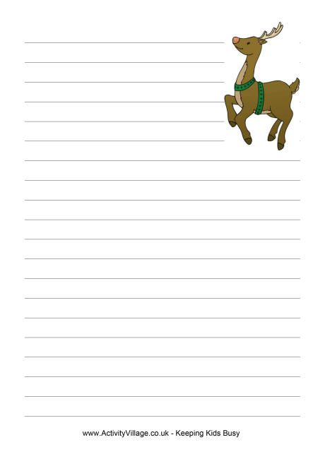 Reindeer writing paper Education Christmas Pinterest - elementary lined paper template