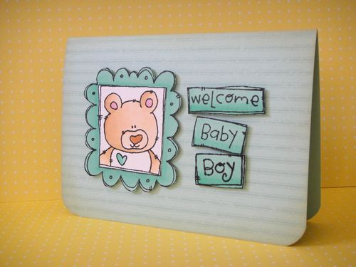 Blue Welcome Baby Card