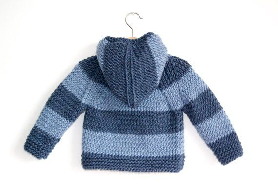 b93e31f3a50f Hand Knitted Baby Boy Wool Hoodie Cardigan Jacket