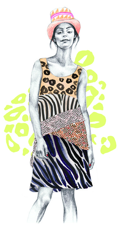 Mia Overgaard #miaovergaard #illustration #fashionillustration #fashion #outfit #zebra #panther #trafficnyc