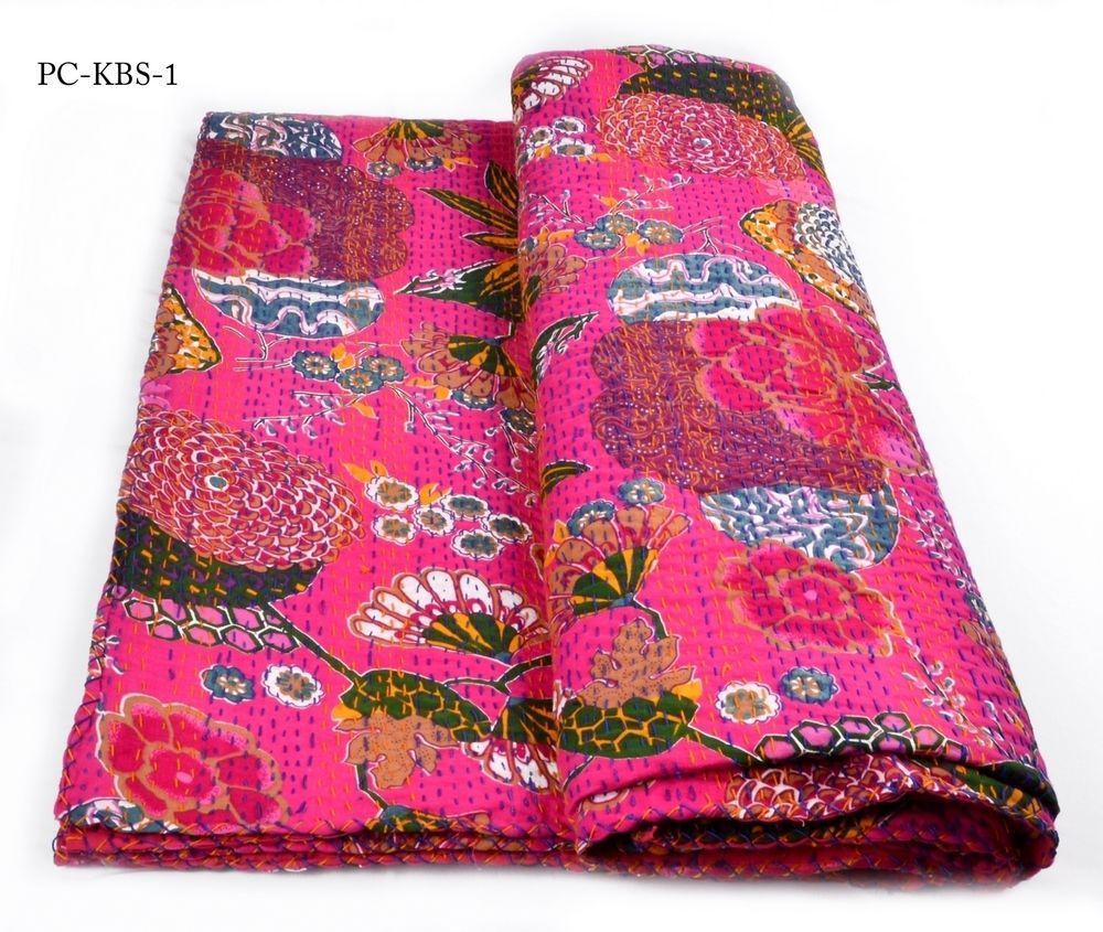 Handmade bed sheets design - Kbs1 Handmade Kantha Bed Sheet Cotton Fabric Thread Design Saganeri Jaipur India Handmade