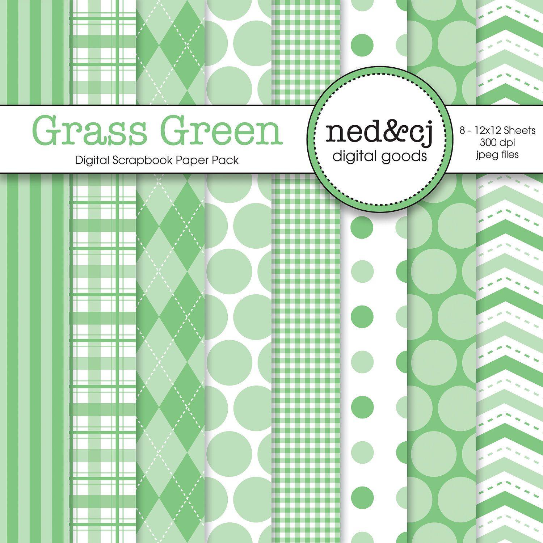 Scrapbook paper etsy - Digital Scrapbook Paper Pack Grass Green Pantone Spring Collection 3 00 Via Etsy