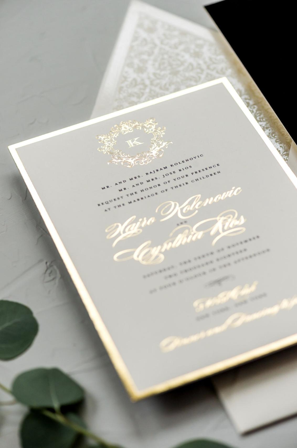 Traditional gold foil wedding invitation. | Foil wedding invitations, Gold  foil wedding invitations, Gold foil wedding
