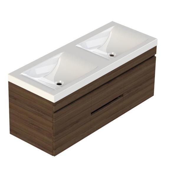 Lift Bridge Kitchen Bath Viteli Siena 48 In W X 19 In D Bath Vanity In Walnut With Cultured Marble Vanity Top In White W Double White Basin 48vsiewal T