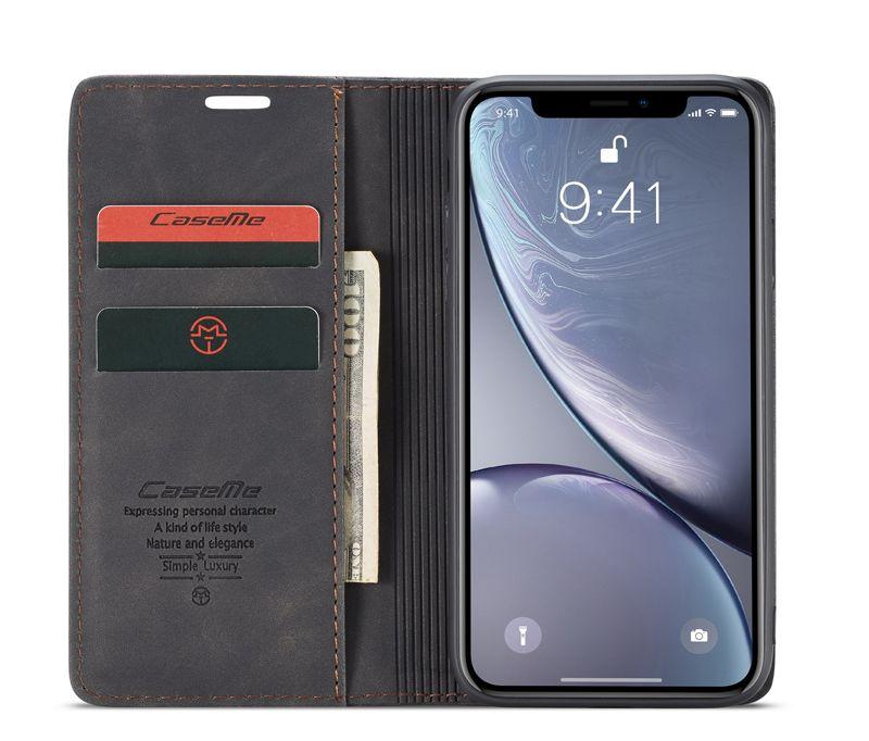 Caseme iphone xr retro matte soft flip leather wallet case