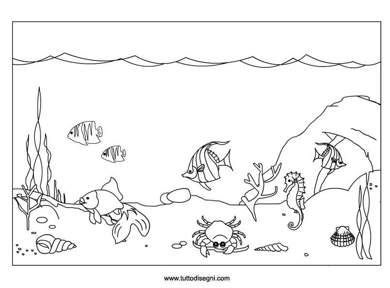Fondale marino2 pesci disegni pesce e grembiuli for Disegni di pesci da colorare per bambini