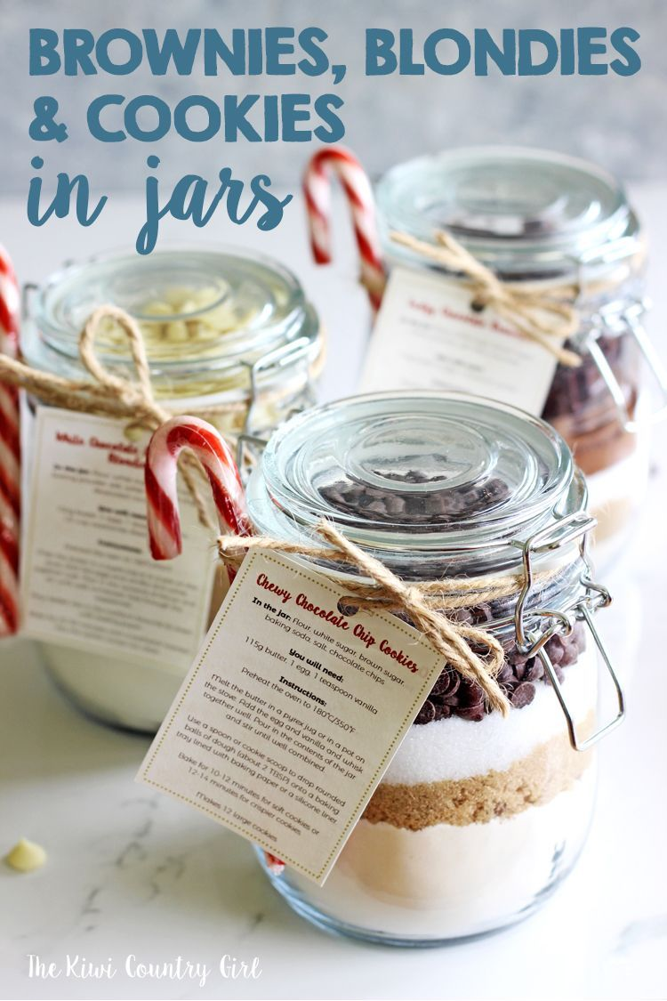 Brownies, Blondies & Chocolate Chip Cookies in a Jar (3 homemade gift ideas) -