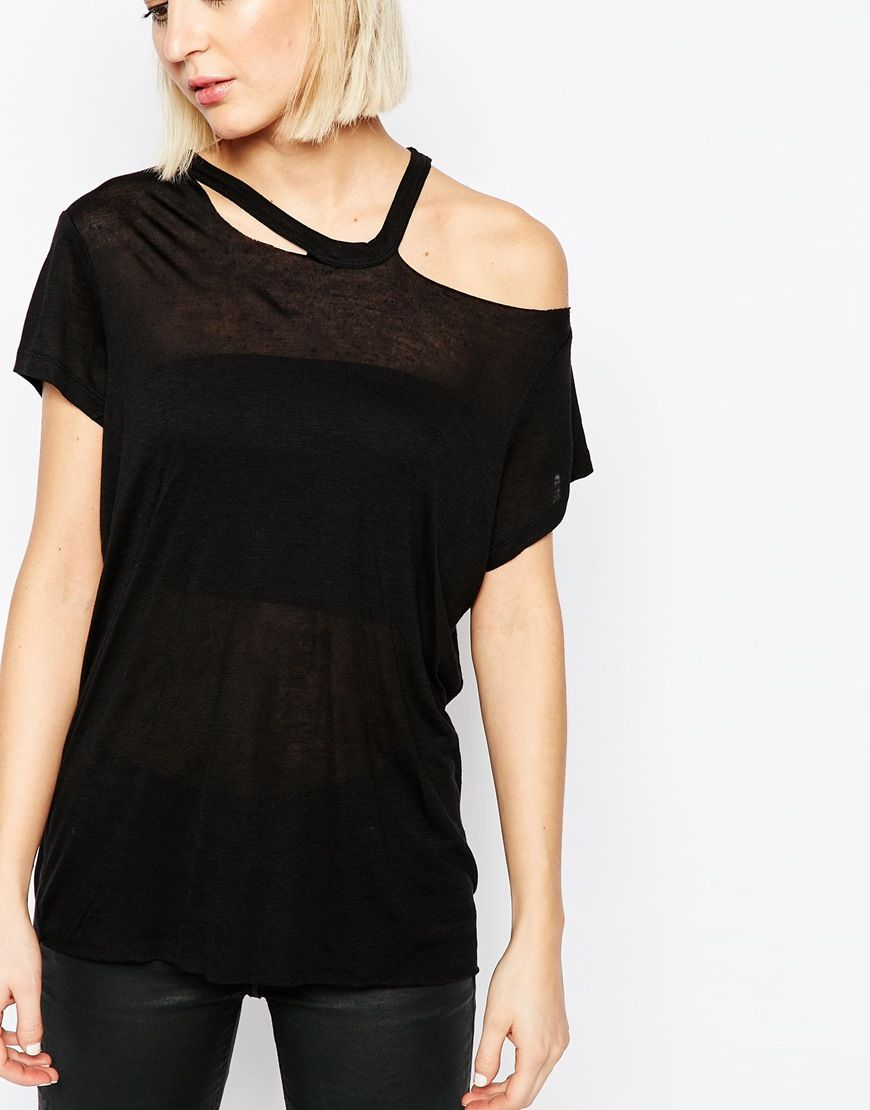 Image 3 of Cheap Monday T-Shirt With Cut Out Shoulder Detail