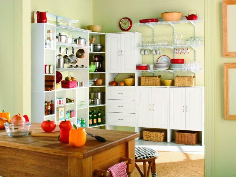 Cocinas Pintadas Con Los Colores De Moda 50 Ideas Pantry Design Kitchen Pantry Design Kitchen Cabinet Storage