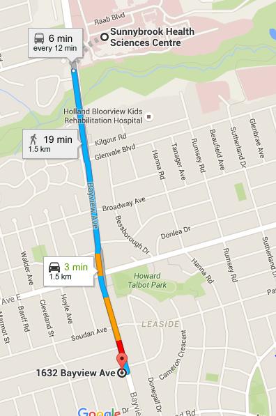 TORONTO minutes to Sunnybrook hospital 150/ week One