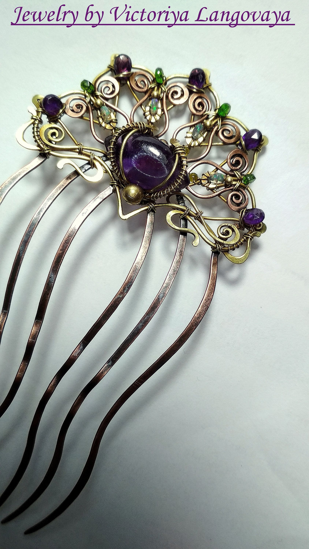 Hair clip with ornament beige silver unique hair accessories bride gift idea
