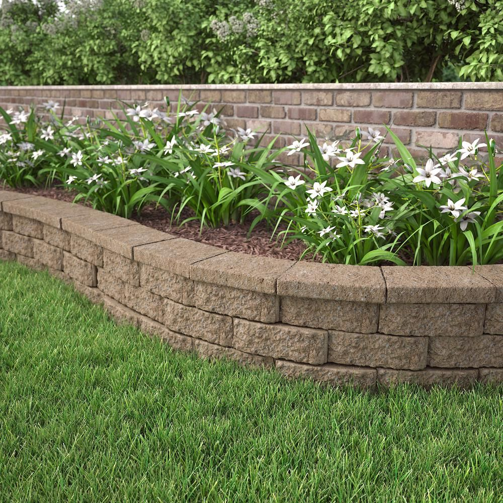 Pavestone 4 In X 11 75 In X 6 75 In Buff Concrete Retaining Wall Block 81104 The Home Depot Landscaping Retaining Walls Sloped Garden Backyard Retaining Walls