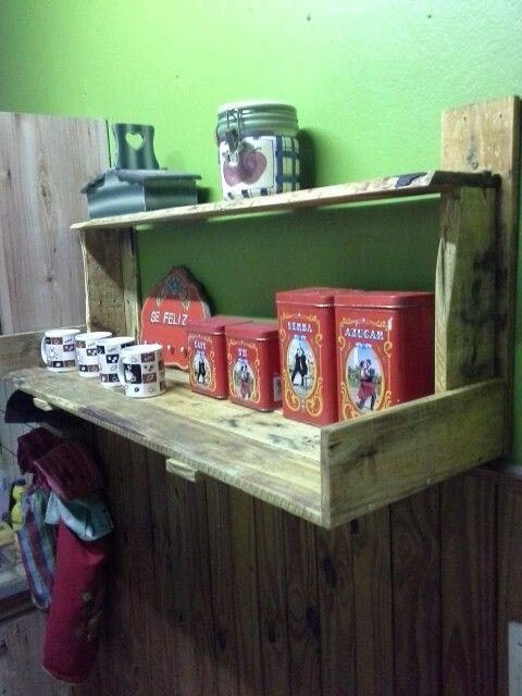 Estanteria doble de cocina hecha con palets trabajos realizados con pallets pinterest - Estanteria hecha con palets ...