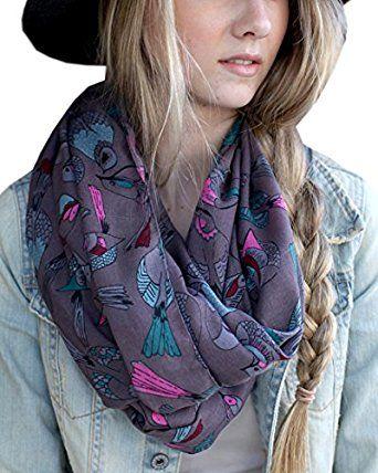 Amazon.com: Women's Tweet Bird Multicolor Infinity Scarf Shawl (Grey Pink Blue): Clothing