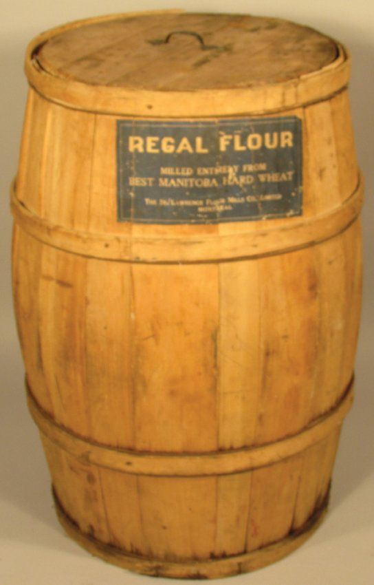 Manitoba Wood Flour Barrel Lot 91 Grocery Sign Barrel Vintage Containers