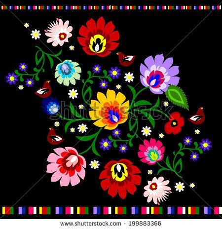 Traditional Polish floral folk pattern