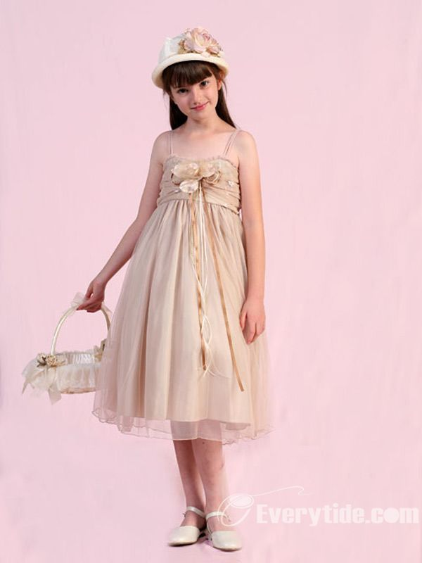 Wholesale Lovely Tea-length A Line Taffeta Flower Girl Dresses
