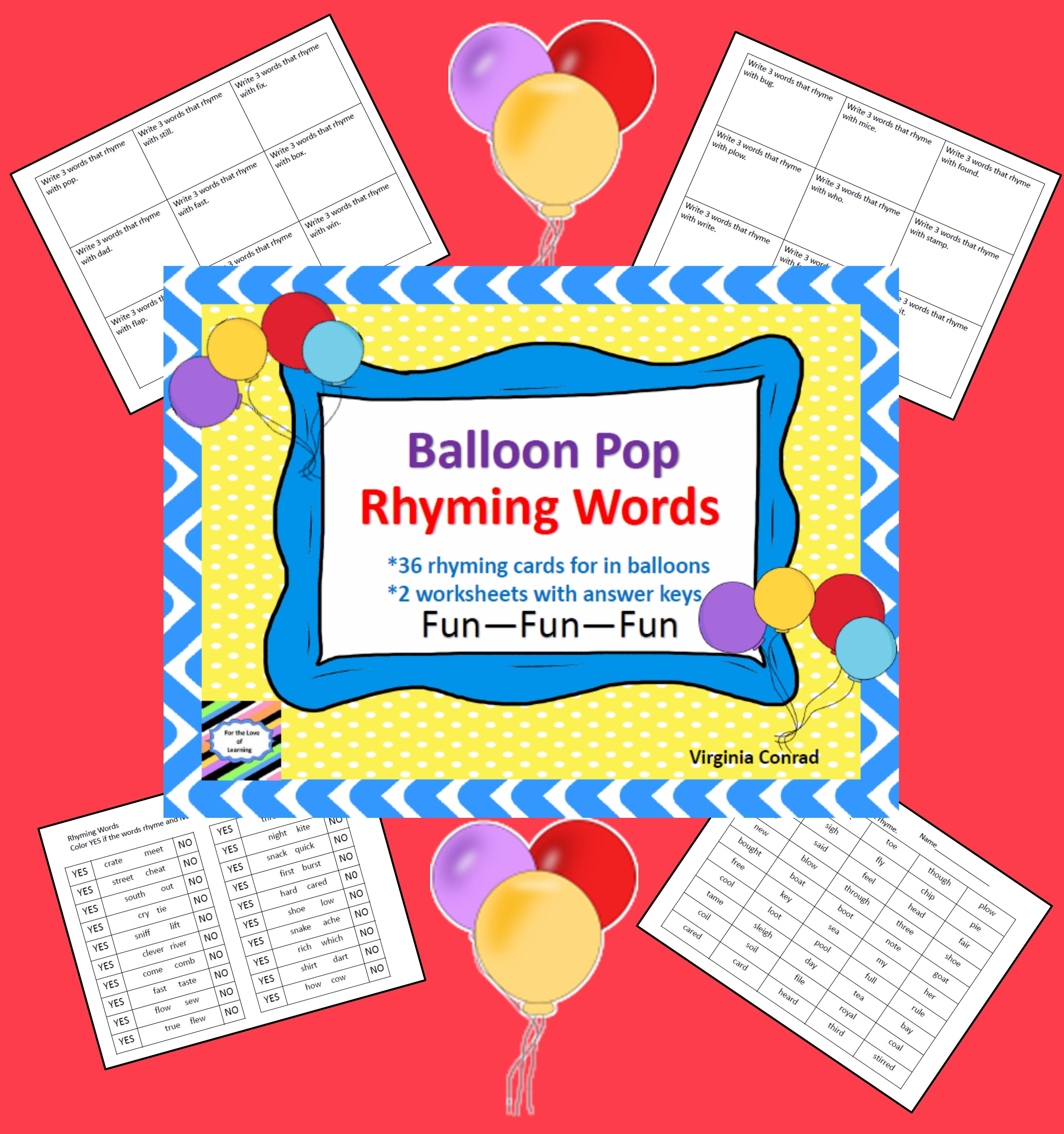 Rhyming Words Balloon Pop