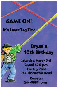 Laser tag invites Party ideas Pinterest Laser tag birthday