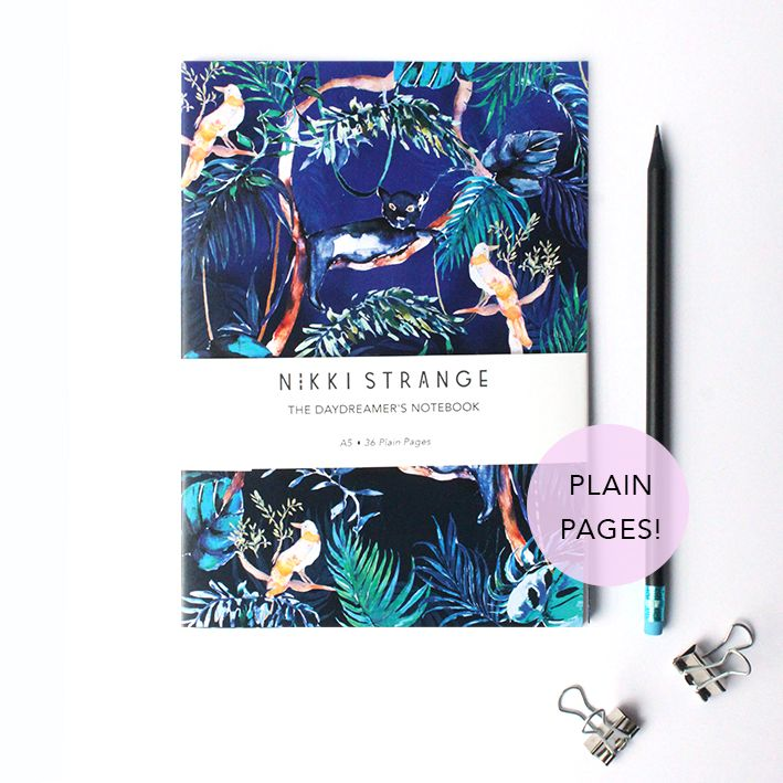 This notebook features illusive panthers & tropical birds in the midnight jungle.