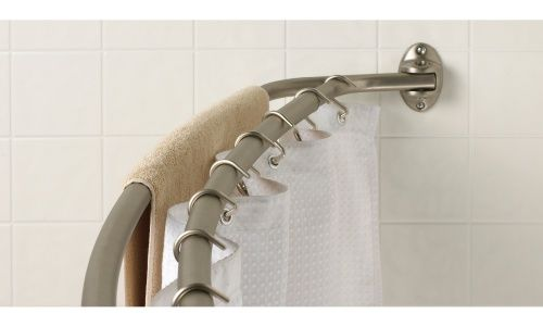 Zenith E35604bn Double Curved Shower Rod Shower Curtain Hooks