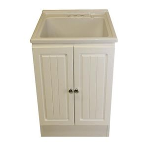 23 X 20 5 X 31 White Acrylic Laundry Tug With Cabinet I Like This Colour Better Laundry Tubs Tub Bath Fixtures