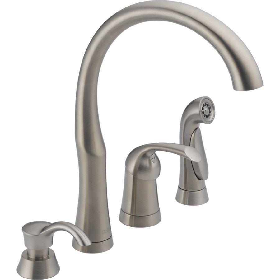 Decoration Single Handle Kitchen Faucet Side Spray Delta Classic Simple 4 Hole Kitchen Faucet Design Inspiration