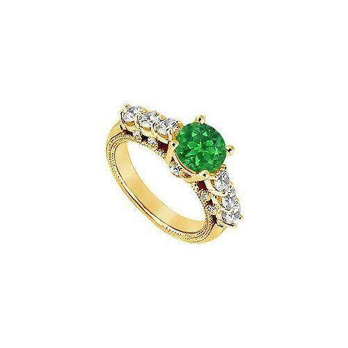Emerald and Diamond Engagement Ring : 14K Yellow Gold - 1.00 CT TGW