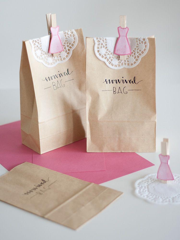 Diy Survival Bag Fur Brautkleid Shopping Zur Hochzeit Braut Geschenke Fur Brautjungfern Trauzeugin Hochzeit