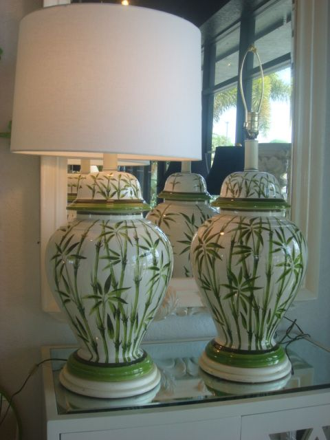 Love This Pair Of Green And White Ginger Jar Lamps With The Fabulous Bamboo Great Looking