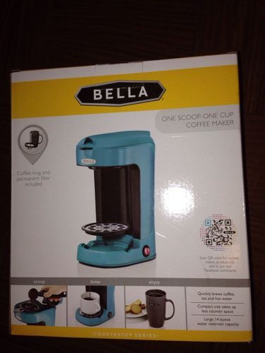 Bella One Scoop One Cup Coffee Maker Single Serve Turquoise Blue New