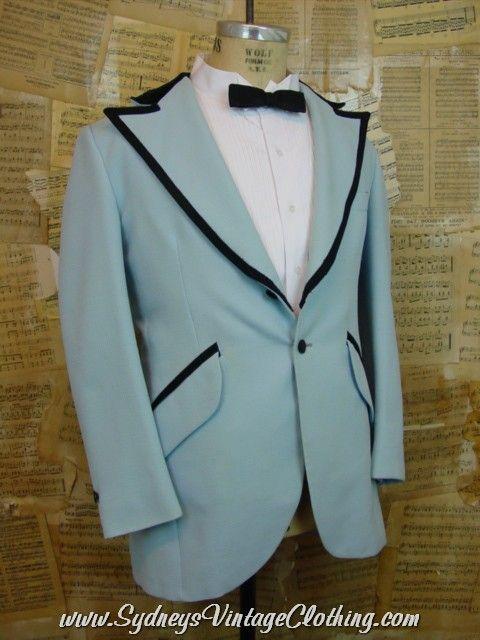 Vintage 70\'s Baby Blue Tacky Prom Men\'s Tuxedo Dinner Jacket 42R ...