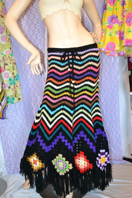 Crochet Vintage crochet Womens Hippie Gypsy skirt | Häkeln