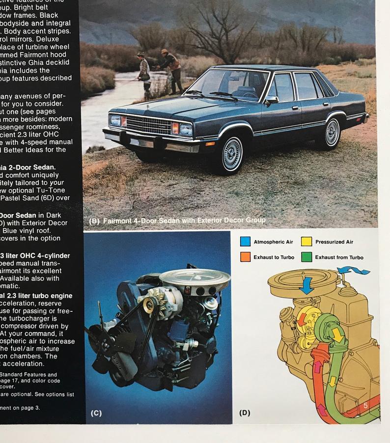 1980 Ford Fairmont Car Dealer Brochure 1980s Auto Vintage