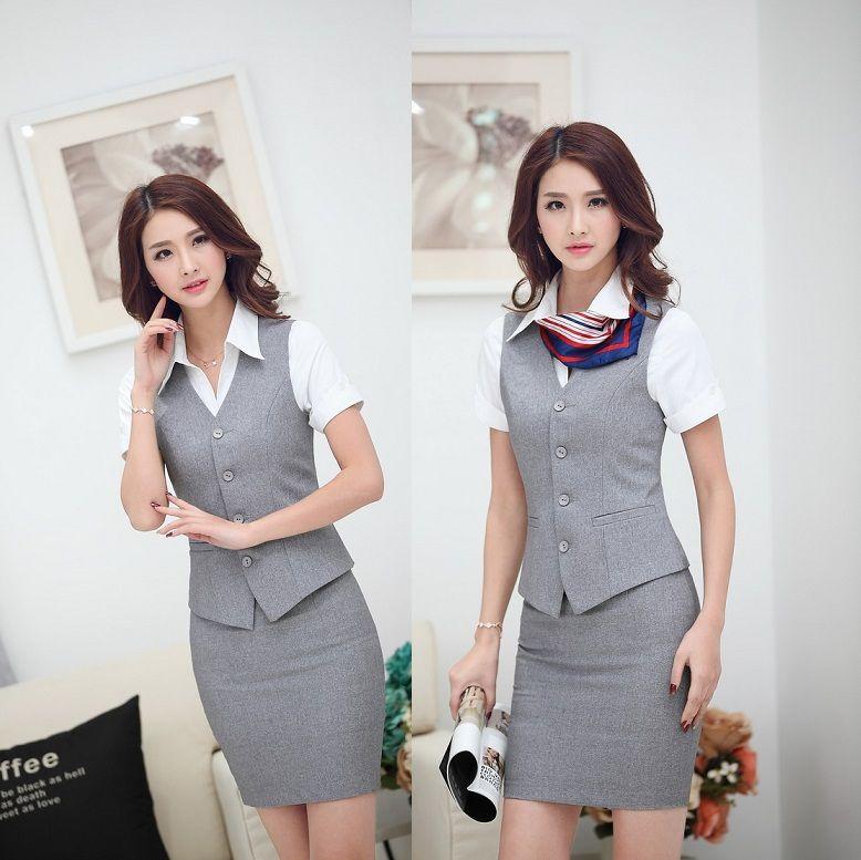 5a81e0c83 Caliente venta gris elegante para mujer de la oficina de los juegos ...